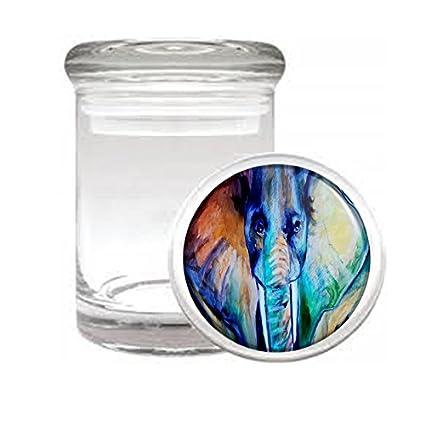 Amazon.com: JS \u0026 Caren Medical Glass Stash Jar Elephant Art Design