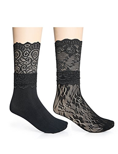 2,3 Pairs Women Black Lace Nylon Dress Socks, Stylish Fishnet, Ankle High, Size 4-8