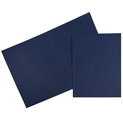 JAM PAPER Two Pocket Textured Linen Business Folders - Navy Blue - 6/Pack