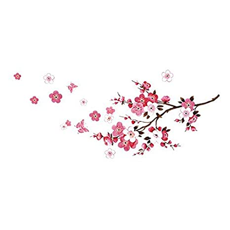 RRRLJL DIY Removable Vinyl Cherry Blooms Tree Branch Wall Decor Decal Japanese Sakura Wall Art Stickers
