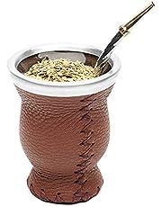 Balibetov [New] Leather & Glass Yerba Mate Gourd Set (Mate Cup) with Yerba Mate Bombilla (Straw)
