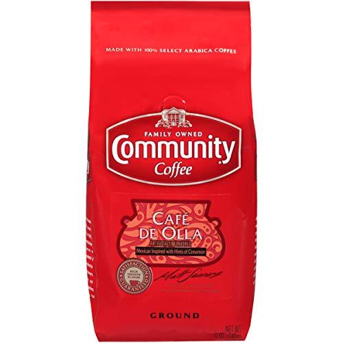 Community Coffee Café de Olla Flavored Medium Roast Premium Ground 12 Oz Bag Medium Full Body Hints of Cinnamon 100% Select Arabica Coffee Beans