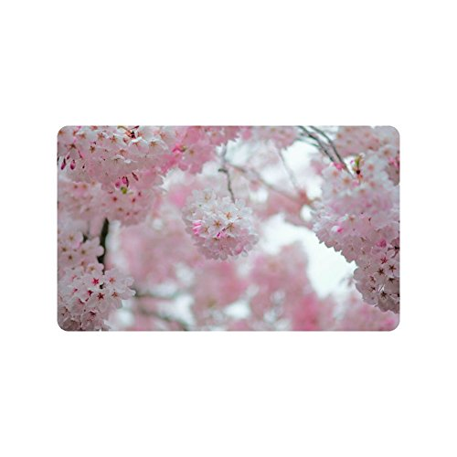 Cherry Blossom Decorative Doormat with We're All Mad Here printed for Home/Office/Bedroom Neoprene Rubber Non Slip Backing Machine Washable 30''(L)X18''(W) Mad Custom Cherry