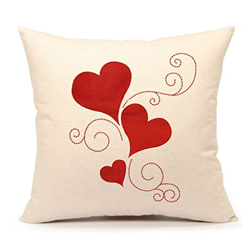 4TH Emotion Valentines Day Throw Pillow Cover Cushion Case 18 x 18 Inch Cotton Linen Red Love Heart Home Decor
