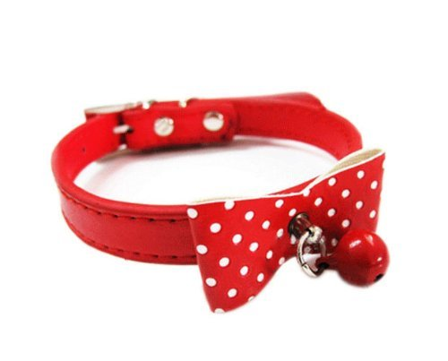 SKL Cute Dog Cat Collar with Bows and Bells (Red)