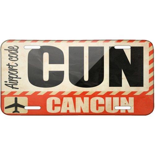 (Airportcode CUN Cancun Metal License Plate 6X12 Inch )
