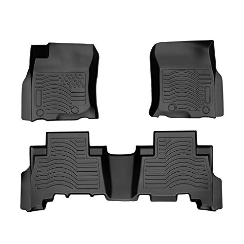 COOLSHARK Toyota 4Runner Floor Mats, Waterproof Floor Liners Custom Fit for 2013-2019 Toyota 4Runner / 2014-2019 Lexus GX 460,1st and 2nd Row Included-All Weather Protection,Black