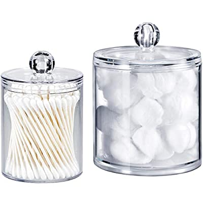 Qtip Dispenser Holder Bathroom Vanity Organizer Apothecary Jars Canister Set for Cotton Ball,Cotton Swab,Q-tips,Cotton Rounds,Bath Salts,Premium Quality Plastic Acrylic Clear | 2 Pack,10 Oz. & 20 Oz. - ✅ BEATIFUL AND FUNCTIONAL: The 10oz. & 20 Oz. Apothecary Jars set combine BEAUTY with organization. The 10oz. jar is perfect for qtips,the 20 oz. jar is perfect for bathroom vanity organizer, such as cotton ball,cotton rounds,bath salts, makeup sponges,rubber bands,needles,etc. ✅ SIMPLE AND EASY TO USE: Each apothecary jar has a removable acrylic lid and a wide mouth to make accessing bathroom vanity simple.They are easy to clean and can also provide the vanity become wet in the bathroom because of the humidity ✅ MAKING HOME A BETTER SPACE:The canister set is also clear plastic jars, modern design, functional yet decorative,not just for the bathroom, also PERFECT in the kitchen or living room - organizers, bathroom-accessories, bathroom - 41lQHt4QkvL. SS400  -