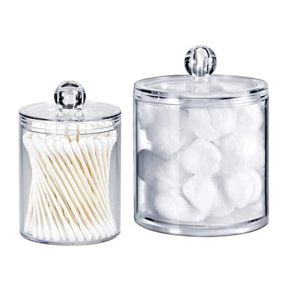 Qtip Dispenser Holder Bathroom Vanity Organizer Apothecary Jars Canister Set for Cotton Ball,Cotton Swab,Q-tips,Cotton Rounds,Bath Salts,Premium Quality Plastic Acrylic Clear | 2 Pack,10 Oz. & 20 Oz. - ✅ BEATIFUL AND FUNCTIONAL: The 10oz. & 20 Oz. Apothecary Jars set combine BEAUTY with organization. The 10oz. jar is perfect for qtips,the 20 oz. jar is perfect for bathroom vanity organizer, such as cotton ball,cotton rounds,bath salts, makeup sponges,rubber bands,needles,etc. ✅ SIMPLE AND EASY TO USE: Each apothecary jar has a removable acrylic lid and a wide mouth to make accessing bathroom vanity simple.They are easy to clean and can also provide the vanity become wet in the bathroom because of the humidity ✅ MAKING HOME A BETTER SPACE:The canister set is also clear plastic jars, modern design, functional yet decorative,not just for the bathroom, also PERFECT in the kitchen or living room - organizers, bathroom-accessories, bathroom - 41lQHt4QkvL. SS570  -