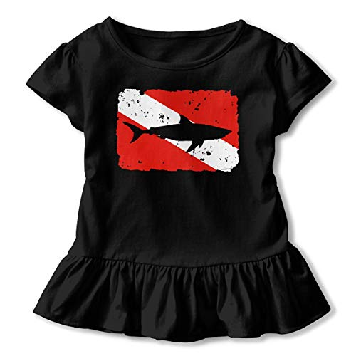 Girls' Short Sleeve Vintage Shark Scuba Dive Flag Shirts, Ruffled Blouse Clothes with Flounces, 2-6T Black