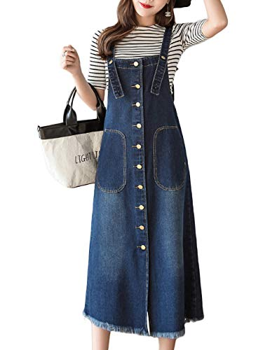 Innifer Women/Junior Front Button Midi Length Strap Pinafore Denim Jean Overall Dress Navy ()