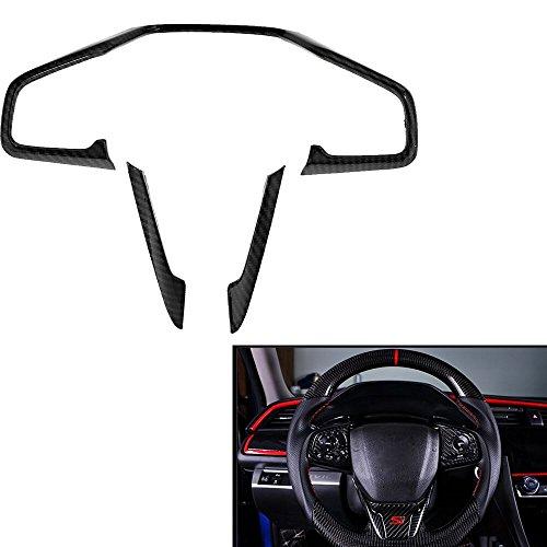 3 PCS Carbon Fiber Style Inner Steering Wheel Frame Cover Trim For Honda Civic 2016 and up ()