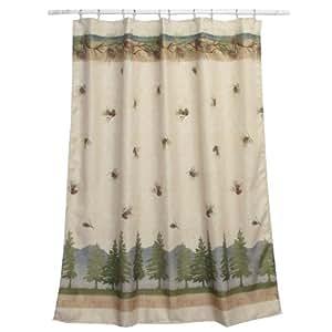 Amazon Com Bacova Guild Pine Cone Branches Shower Curtain