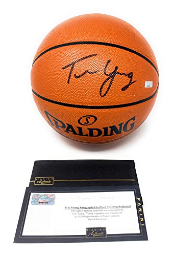 Trae Young Atlanta Hawks Signed Autograph NBA Game Basketball Black Ink Panini Authentic Certified Atlanta Hawks Player Series