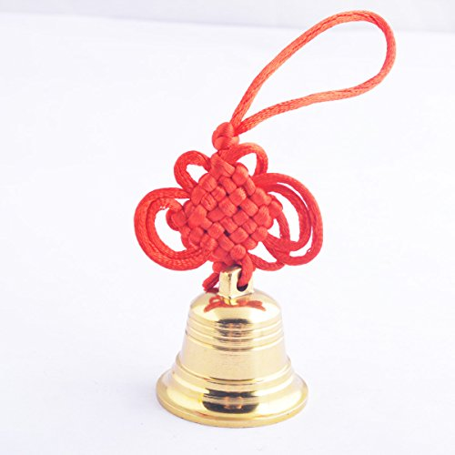 Feng Shui Brass Good Luck,protection Hanging Bell + One Free Red String Bracelet (Bell Strings)