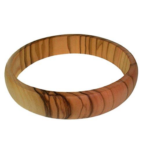 Carved Wood Bracelet - Latitudes Thin Olive Wood Bangle - X-Large, 3.0 inch Diameter