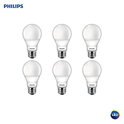 Philips LED 479444 Dimmable A19 Light Bulb with Warm Glow Effect 800-Lumen, 2200-2700 Kelvin, 9.5 (60-Watt Equivalent), E26 Base, Frosted, Soft White, 6-Pack, Piece