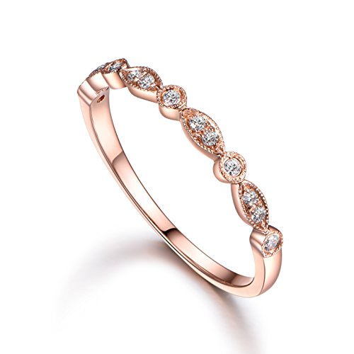 [Solid 14K Rose Gold 0.15ctw Round Cut Diamonds (SI1-SI2 clarity,I-J color) Milgrain Eternity Band Wedding Ring size 4-10] (Si2 Round Diamond Eternity Ring)