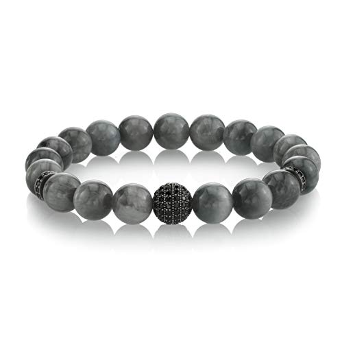 SPARTAN Men's 8mm Beaded Bracelet with Eagle Eye Beads   Decorative Hand-Crafted Black Spinel Connector Beads Fits 7 to 8 Inch Wrist Men's Accessories Fashion Bracelet