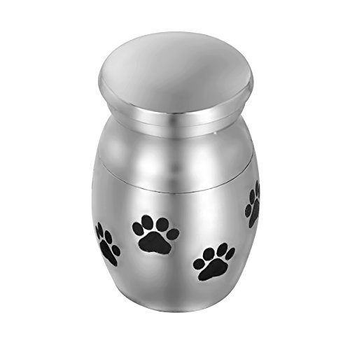 HooAMI Classic Series Paw Pet Urn Mini Cremation Urn - Stainless Steel Waterproof Funeral Keepsake Urn