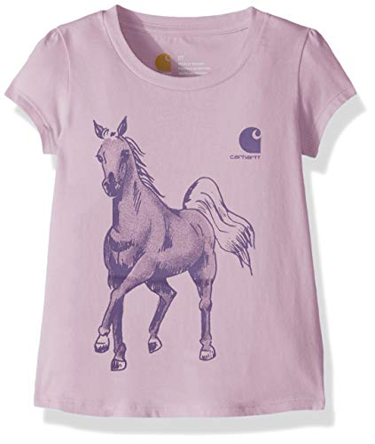 Carhartt Girls' Big Short Sleeve Cotton Graphic Tee T-Shirt, Water-Color Horse (Lavender Mist) XS(7) (Watercolor Graphic Tees)