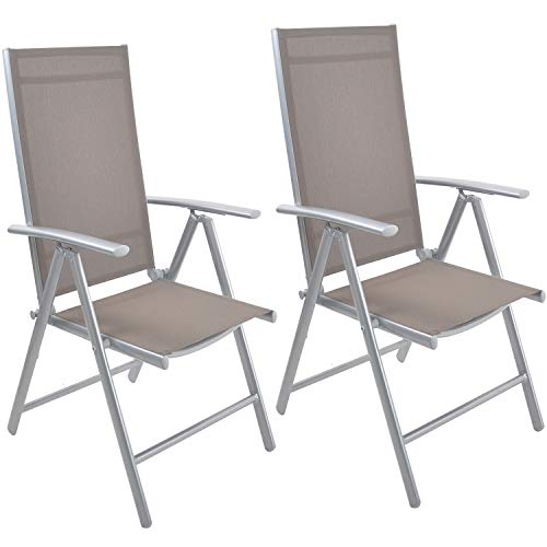 (Livebest Set of 2 Folding Sling Chair Patio Adjustable Reclining Back Sturdy Aluminum Frame with Armrest Chair Indoor Outdoor Furniture Garden Pool Bench,Gary)