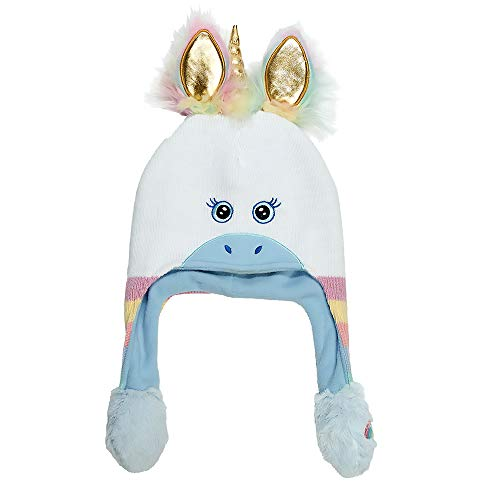 ABG Accessories Girls Little Unicorn Squeeze and Flap Fun Cold Weather Hat, White/Blue, Age 4-7