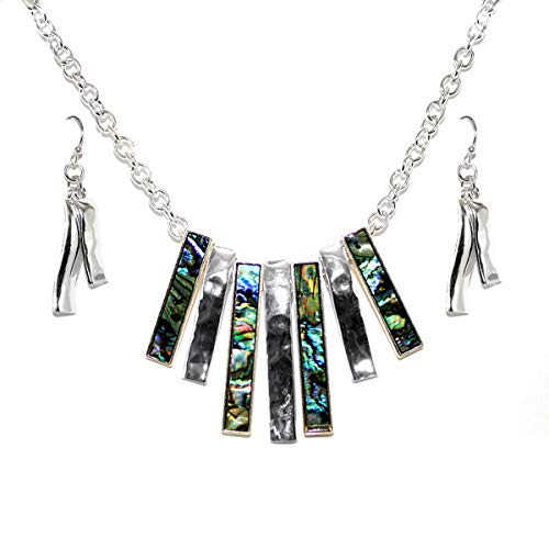 Icon Collection Silver and Abalone Sunburst Necklace