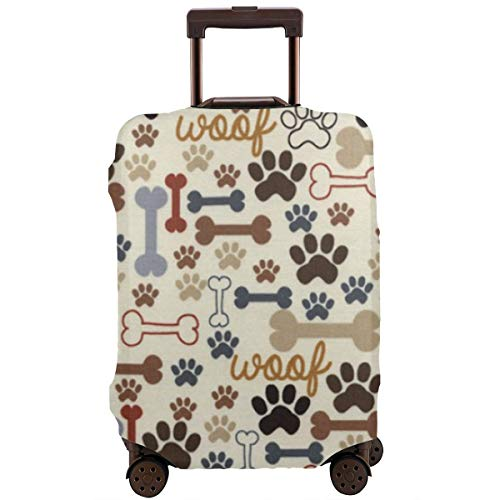 (Travel Luggage Protective Covers Blue Dog Footprint Bone Elastic Zipper Thickened Resistant Scratch Dust Proof Washable Suitcase Cover)