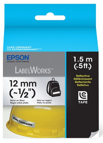 Epson LabelWorks Reflective Cartridge  1/2-Inch Black on Silver (LC-4SBR1)