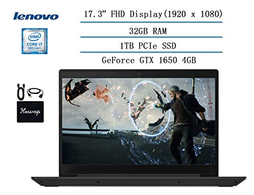 "Lenovo IdeaPad L340 17.3"" Full HD Gaming Laptop 2020 Newest, Intel core i7-9750H (up to 4.50 GHz, Beat i7-7500U), 32GB RAM, 1TB PCIe SSD,NVIDIA GeForce GTX 1650 Win10 w/Ghost Manta Accessories"