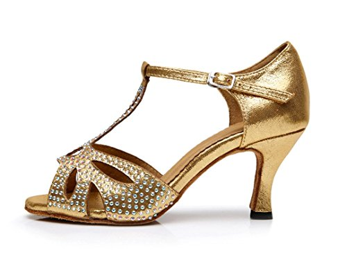 Tda Da Donna T-strap Cut-out Cristalli Sintetici Salsa Tango Sala Da Ballo Latino Danza Moderna Scarpe Da Sposa Oro