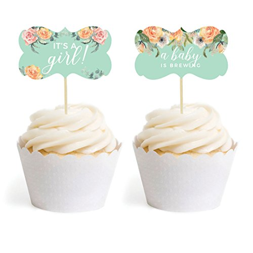 Andaz Press Peach Mint Green Floral Garden Party Baby Collection, Cupcake Topper DIY Party Favors Kit, Fancy Frame Shape, - Garden Cupcake
