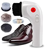 Electric Shoe Polisher Machine, MaQue Mini Handheld Electric Shoe Brush Shoe Shine with USB Interface Charging Port, Shoe Shine Kits for Leather Care (White)