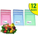 VITARA™ [Pack of 12] Premium Reusable Fridge Storage Bag for Vegetables and Fruits Mesh Net Fabric with Zip Lock, Eco-Friendly, Non-Toxic