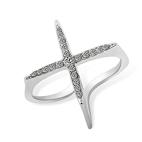 Cross 18k Tacori (Delatcha Open Ring Women Micro Pave CZ Ladies Cross Rings rose gold engagement Ring)