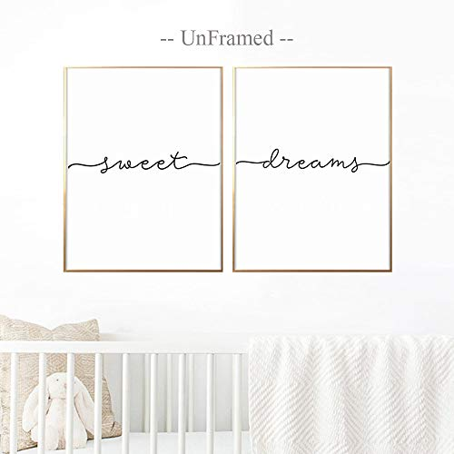 (Above Crib Art, Set of 2 Prints, Minimalist Poster, Above Bed Art, Above Crib Decor, Nursery Print, Bedroom Wall Art, Sweet Dreams Print, 11x14 Inch Unframed)