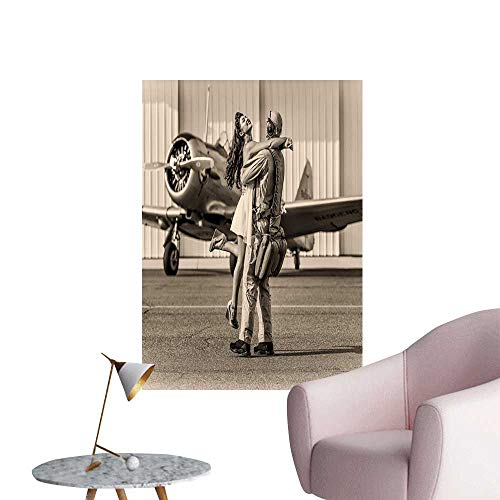 Jaydevn Vintage Airplane Decor Self Adhesive Wallpaper for Home Bedroom Decor Brunette Young Woman Hugging a Pilot Historic Aircraft Homecoming Image Background Wall Stickers Sepia W24 x -