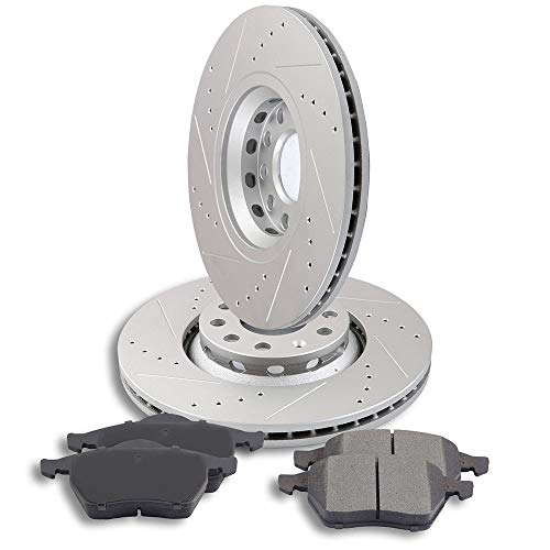 (AUTOMUTO Brake Kits with 2pcs Front Brake Rotors and 4pcs Ceramic Pads fit for 2002 2003 2004 2005 Audi A4,2002-2006 Audi A4 Quattro,2002-2004 Audi A6,1998-2004 Audi A6 Quattro)