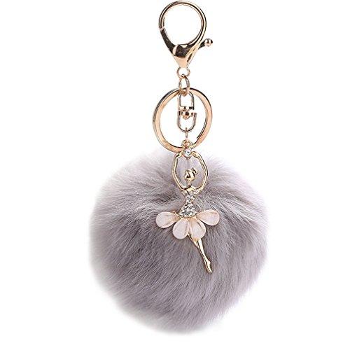 (Youngate Stylish Dancing girl Plush Genuine Ball Handbag Key Chain Cell Phone Car Pendant(grey))