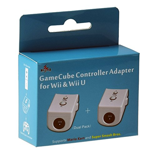 Mayflash GameCube Controller Adapter for Wii & Wii U (Dual Pack), White (U Gc Wii Adapter)
