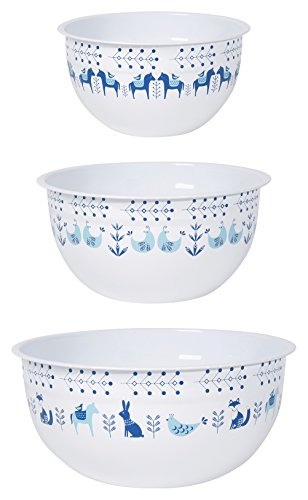 (Now Designs Mix and Serve Steel Bowls, Set of Three, Meadowland)