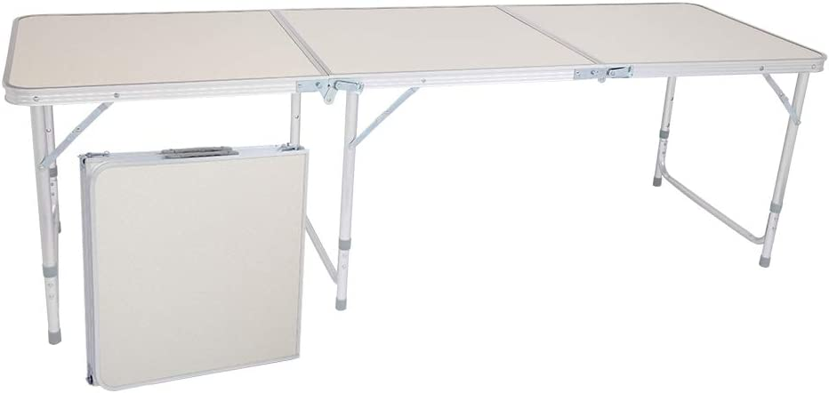 6 Ft Folding Table Height Adjustable Portable Easy Carry Out Fold-in-Half Folding Utility Table for Camping Picnics Party BBQ Aluminum Alloy White Color (70.86 x 23.62 x 27.56) inch
