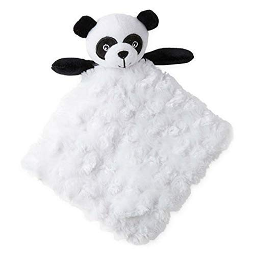 Okie Dokie Panda Bear White Black Plush Security Blanket for Baby Nursery Newborns]()