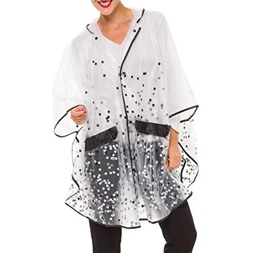 MELIFLUOS DESIGNED IN SPAIN Raincoat Poncho for Women with Hood Portable Foldable Fashion Polka Dots Design (RP01-1) (Best Travel Coats For Europe)