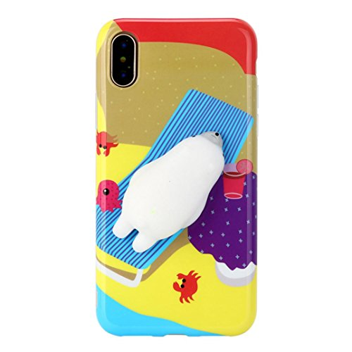 Price comparison product image Mchoice For iPhone X 5.8 inch, New Squishy 3D Squeeze Cute Mochi Toy Silicone Back Soft Case Cover for iPhone X 5.8 inch (I)