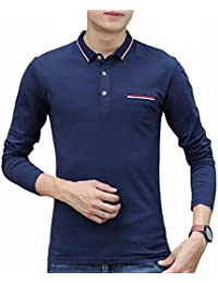 Generic Mens Slim Fit Long Sleeve T-Shirt Casual Patchwork Polo Shirt