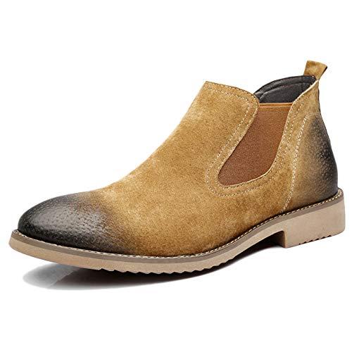 Chelsea Boots Uomo Nero Pelle Matrimonio Sicurezza Brogue Classico Autunno E Inverno Retro Martin Stivaletti Stivali Brown