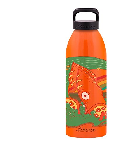 Liberty Bottleworks Calamari Aluminum Water Bottle, Made in USA, 32oz, Atomic, Sport (Atomic Cap)