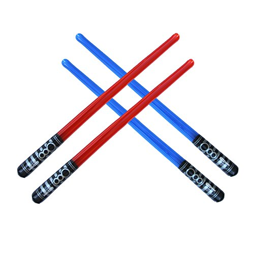 Pack of 4 Inflatable Light Saber Sword Toys - 2 Red and 2 Blue lightsabers - pool, beach, party favors, larp